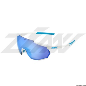 100% RACETRAP Long Cycling Goggles (SE Movistar Team White/HiPER Blue Multilayer Mirror Lens) 61037-443-75